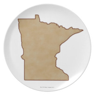 Relief Map of Minnesota Dinner Plate