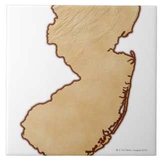 Relief Map of New Jersey Ceramic Tile