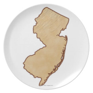 Relief Map of New Jersey Dinner Plate