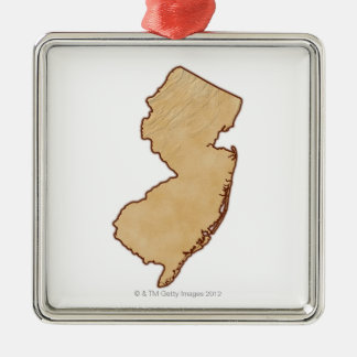 Relief Map of New Jersey Metal Ornament