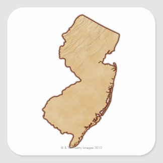 Relief Map of New Jersey Square Sticker