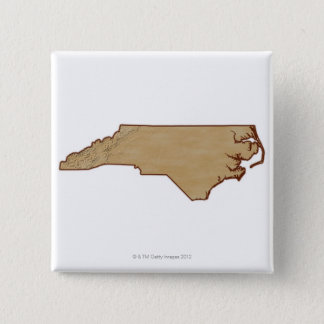Relief Map of North Carolina Pinback Button