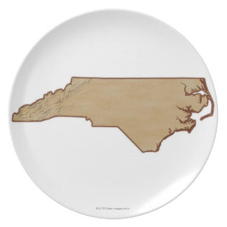 Relief Map of North Carolina Dinner Plate