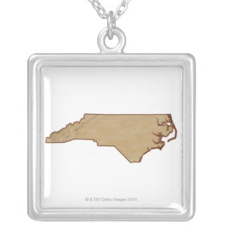 Relief Map of North Carolina Silver Plated Necklace