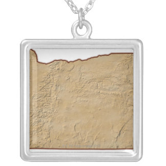 Relief Map of Oregon 2 Silver Plated Necklace