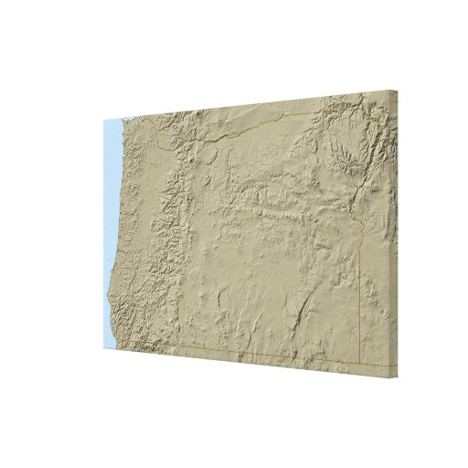 Relief Map of Oregon Stretched Canvas Prints