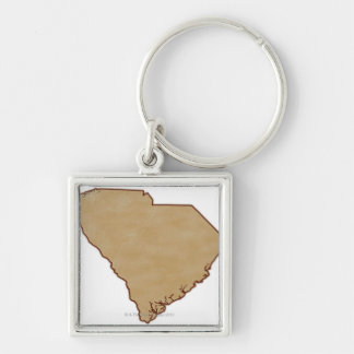 Relief Map of South Carolina Keychain