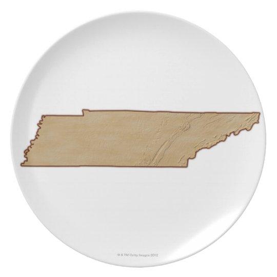 Relief Map of Tennessee Dinner Plate