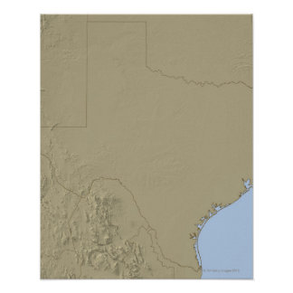 Relief Map of Texas 2 Poster