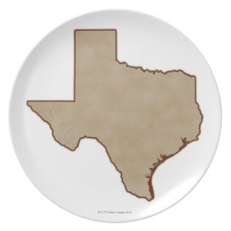 Relief Map of Texas Party Plate