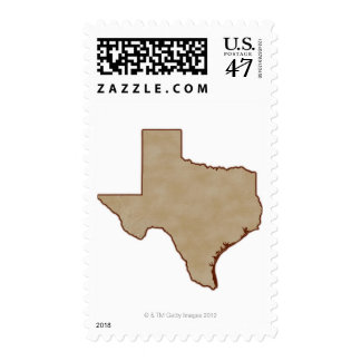 Relief Map of Texas Stamp