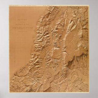 Relief map of Utah Poster