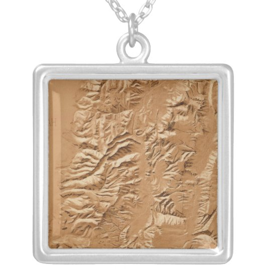 Relief map of Utah Silver Plated Necklace