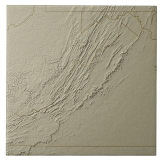 Relief Map of Virginia 2 Ceramic Tile