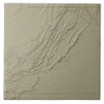 Relief Map of Virginia 2 Large Square Tile