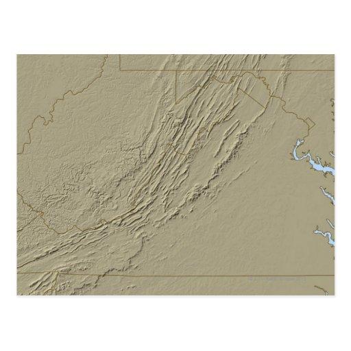 Relief Map of Virginia 2 Postcard