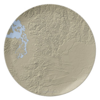 Relief Map of Washington Dinner Plate