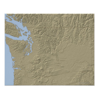 Relief Map of Washington Poster