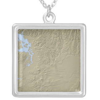 Relief Map of Washington Silver Plated Necklace