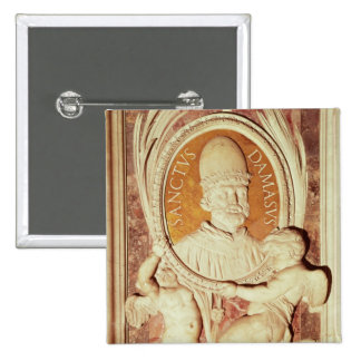 Relief of Damasus I  on a nave pilaster 2 Inch Square Button