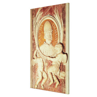 Relief of Damasus I  on a nave pilaster Canvas Print
