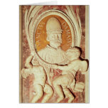 Relief of Damasus I  on a nave pilaster Greeting Card