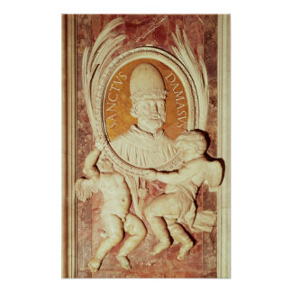 Relief of Damasus I  on a nave pilaster Poster