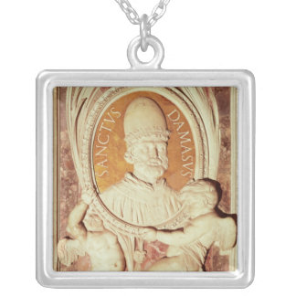 Relief of Damasus I  on a nave pilaster Square Pendant Necklace
