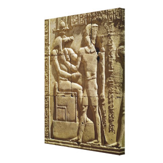 Relief of Sobek and Ptolemy VI Philometor Stretched Canvas Prints