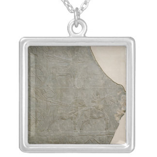 Relief of the Assyrian army in battle and at Silver Plated Necklace