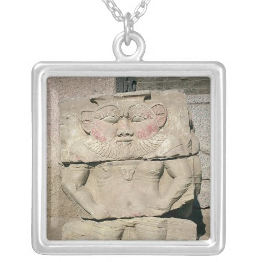 Relief of the Egyptian household god, Bes Square Pendant Necklace