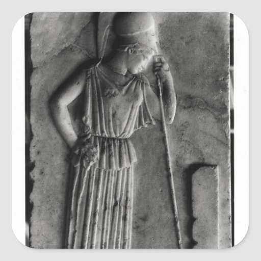 Relief of the Mourning Athena, c.460 Square Sticker