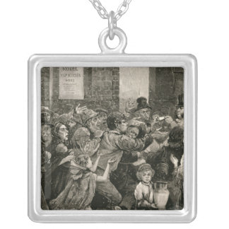 Relief of the Unemployed in London Square Pendant Necklace