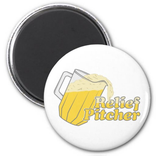 Relief Pitcher Beer Baseball 2 Inch Round Magnet