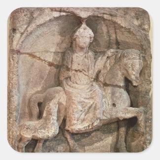 Relief representing Epona, Gaulish goddess Square Sticker