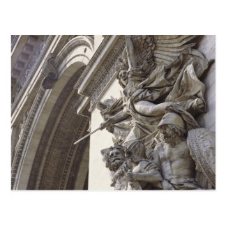 Relief sculpture on Arc de Triomphe in Paris Post Card