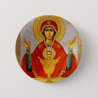 religeous icon holy mary and child button