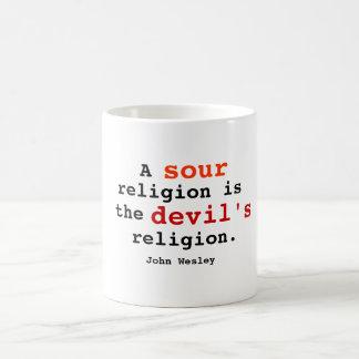 Religión amarga taza de café