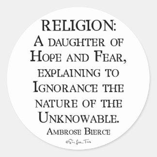 Religion by Ambrose Bierce Classic Round Sticker