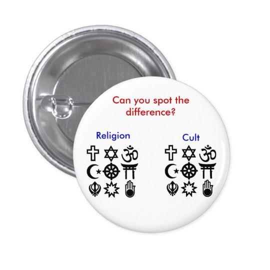 Religión contra culto pin redondo de 1 pulgada