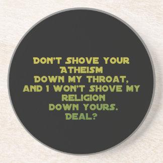 Religión contra el ateísmo - tolerancia posavasos cerveza