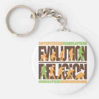 Religión contra la evolución llavero redondo tipo pin