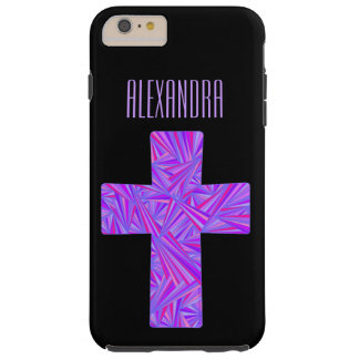 Religión cristiana cruzada púrpura de la fe del funda para iPhone 6 plus tough