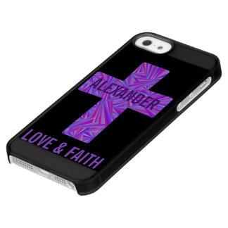 Religión cristiana cruzada púrpura de la fe del funda permafrost™ deflector para iPhone 5 de uncom