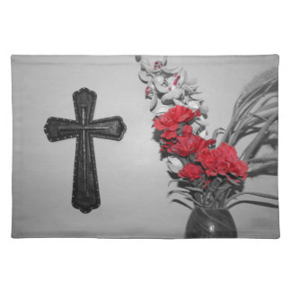 Religion cross flowers cloth placemat