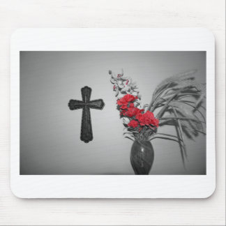 Religion cross flowers mouse pad