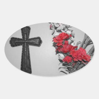 Religion cross flowers oval sticker