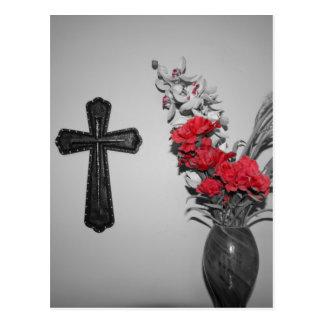 Religion cross flowers postcard