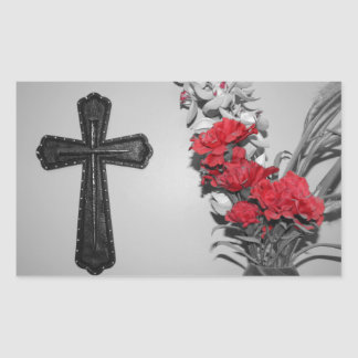 Religion cross flowers rectangle stickers