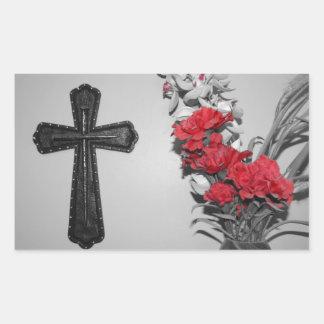 Religion cross flowers rectangular sticker
